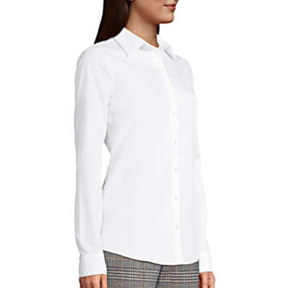 Lands' End No Iron Supima white cotton Dress Shirt